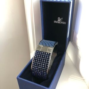 Navy Swarovski Crystal & Leather Bracelet